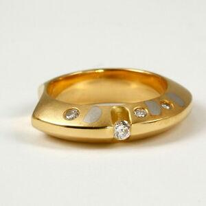 Extravaganter-Design-Ring-750-Gelbgold-und-950-Platin-mit-Brillant0-16-Carat