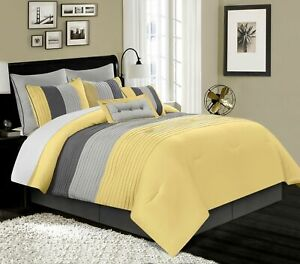 Details About 8 Piece Luxury Pintuck Pleated Stripe Yellow Gray Paloma Comforter Set