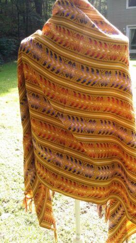 Fringed Rebozo Wrap Shawl Woven Pattern 6x2.75 Mexican Mustard Gold Rainbow P24