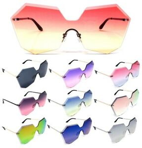 54780c6d31 Details about WOMENS RIMLESS LASER CUT FUTURISTIC SUNGLASSES OVERSIZED ONE  PIECE SHIELD RETRO