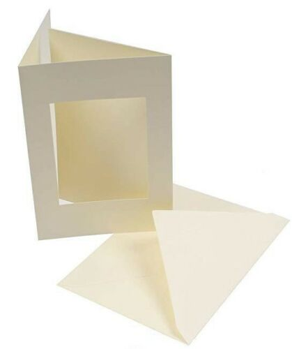 5 x Ivory Hammered Blank Rectangle C5 Tri Fold Aperture Cards with Envelopes