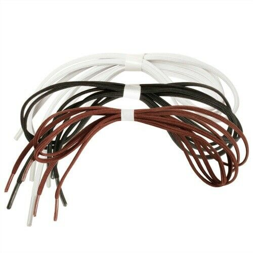 "Black or Brown 24/"" or 30/"" 3 pr Maddak Ableware Perma-Ty Elastic Shoelaces White"