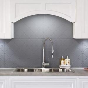 Details about Kitchen Backsplash Decorative Vinyl Panel Wall Tiles Bathroom  Moroccan Grey Gray