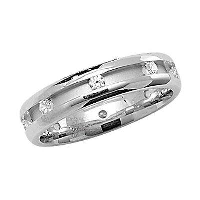Solid Silver Wedding Ring 5mm Band Eight Gemstone Platinum Plate 925 Hallmark Mit Einem LangjäHrigen Ruf