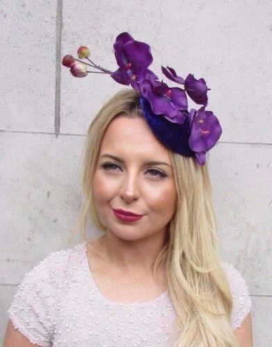 Purple Velvet Orchid Fleur Fascinator chapeau races Bandeau cheveux Vintage 50 s 2675