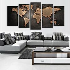 5 Panel Modern Abstract World Map Picture Art Oil Painting Home Decor Unframed