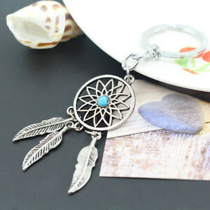 ALS-Unisex-Dream-Catcher-Charm-Faux-Turquoise-Inlaid-Key-Ring-Keychain-Jewelry