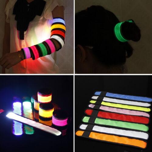 1x Reflective LED Light Snap Band Armband Strap Safe Wrist Belt Running Cycling