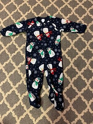 "/""NWT/"" The Children/'s Place Blue Fleece Snowman One Piece Footie Pajamas 0-3 M"