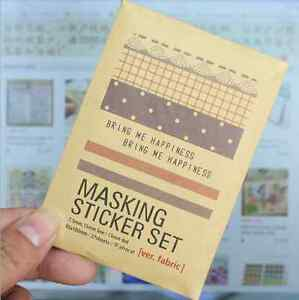27X-Fabric-Paper-Masking-Sticker-Tape-Set-Scrapbooking-Labelling-Diary-Deco-Tag
