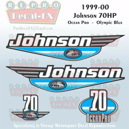 1999-00 Johnson 70 HP OceanPro 3 Cyl Olympic Blue Outboard Repro 4Pc Vinyl Decal