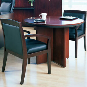 ROUND CONFERENCE TABLE SET With Or Chairs Office Room Cherry Or - Round conference table for 4