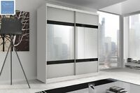 Modern White Sliding Door Wardrobe 6 Ft (183cm) With Mirror F02