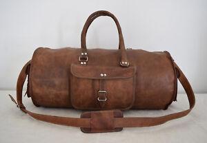 Leather-Duffle-Bag-Travel-Luggage-Sports-Gym-Yoga-Handbag-Holdall-Vintage-23-In