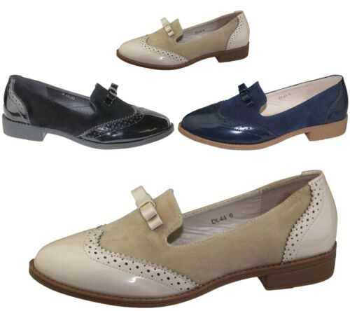 Womens Slip On Shoes Ladies Patent Suede Flat Oxford Loafers Brogues Pumps Size