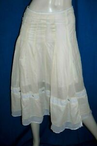 COP-COPINE-Taille-38-Superbe-jupe-doublee-beige-en-coton-modele-ARMINE-skirt