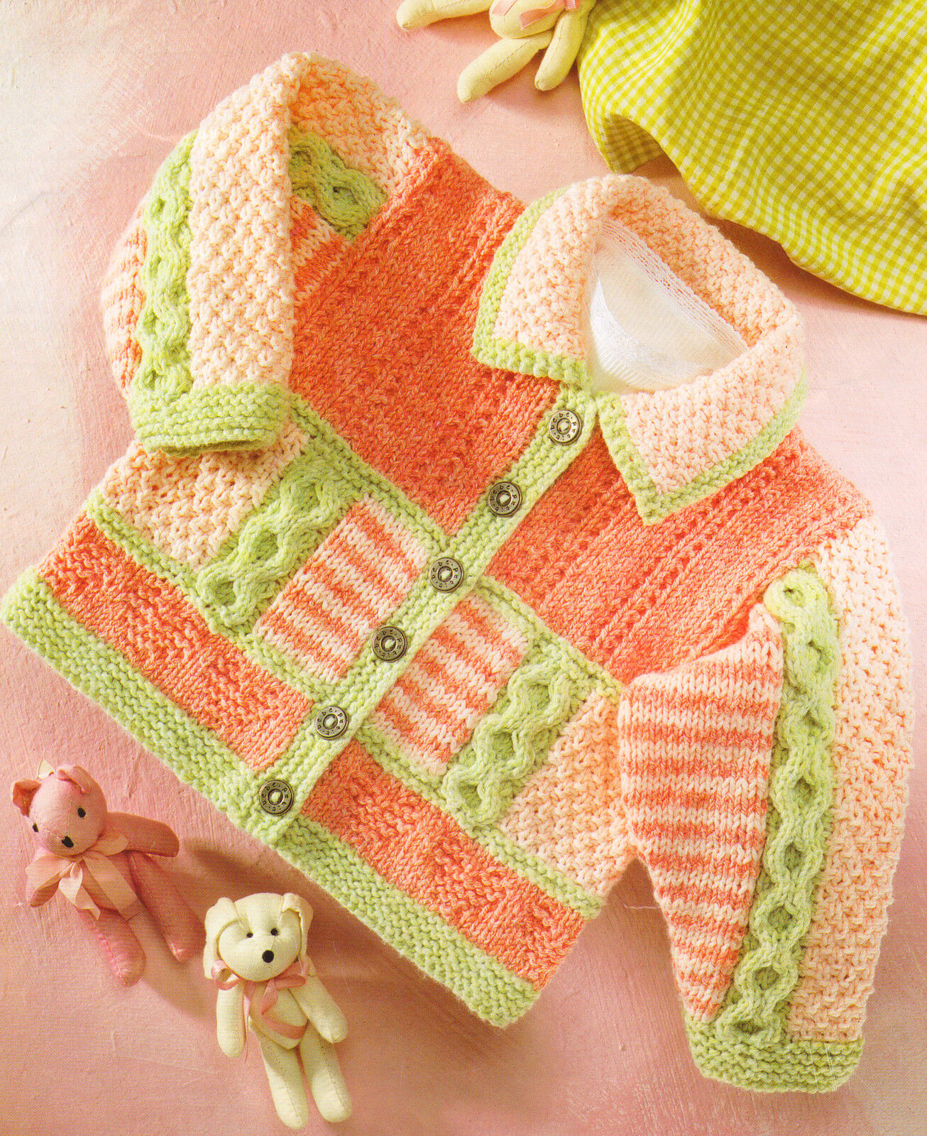 DK Baby Jacket / Collar Stripe Cable Heart Textured 16 ...