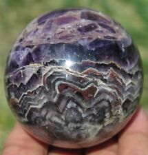 9.4OZ Natural Dog tooth Rainbows Purple Amethyst Crystal Sphere Ball