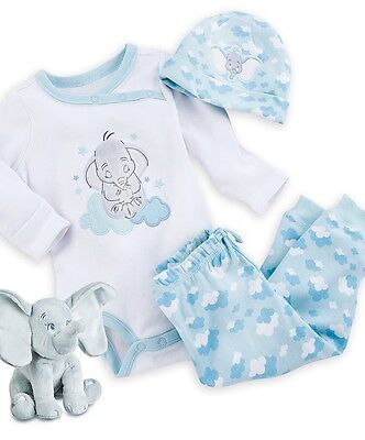 AUTHENTIC DISNEY Dumbo Organic Cotton Gift Set for Baby Boy 6-9 MONTHS NIB