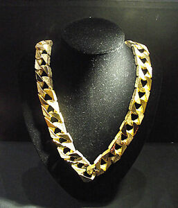30-INCH-Flat-Link-Chain-Cast-in-Sterling-Silver-then-Dipped-in-9-or-18-ct-Gold