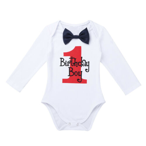 Infant Baby Boys First Birthday Romper Shirt Christmas Party Jumpsuit Outfits