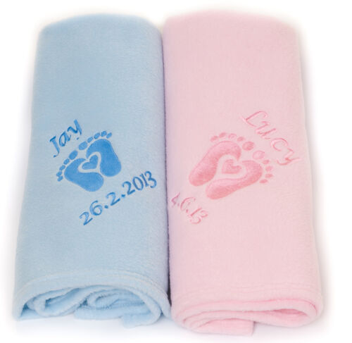 Personalizada bebé bordados Polar cochecito manta corazón Huella Rosa Azul