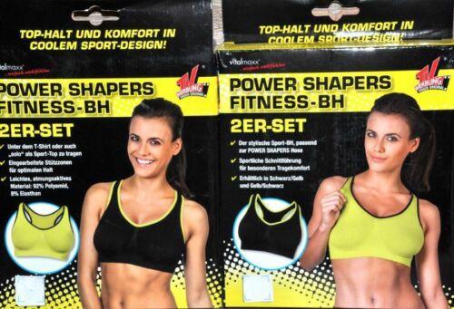 2-er Set Power Shapers Fitness BH M//36 L//38 XL//40 Schwarz Gelb VITALMAXX NEU *