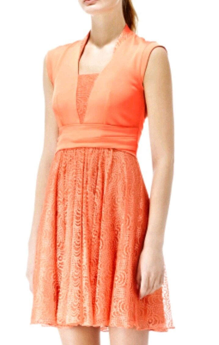 Designer REISS Nerissa dress size 6 --NEW WITH TAGS-- lace skirt orange