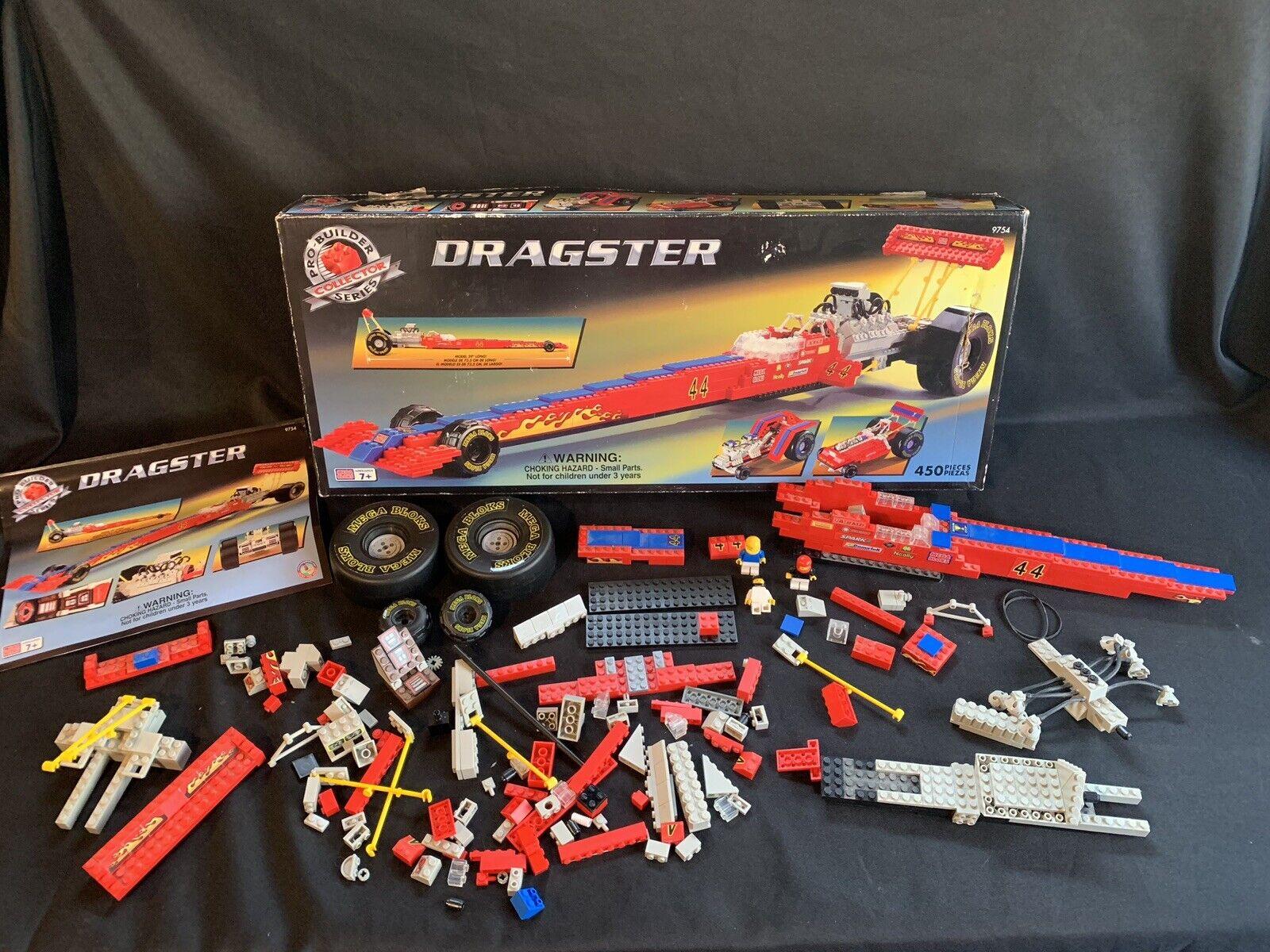 Mega Bloks 9754 Pro Builder Series Dragster Complete Complete Complete Instructions 450 Pcs Used 543b4b