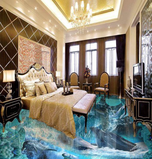 3D onda delfino Blau Pavimento Foto Wallpaper Murales Muro Stampa Decalcomania