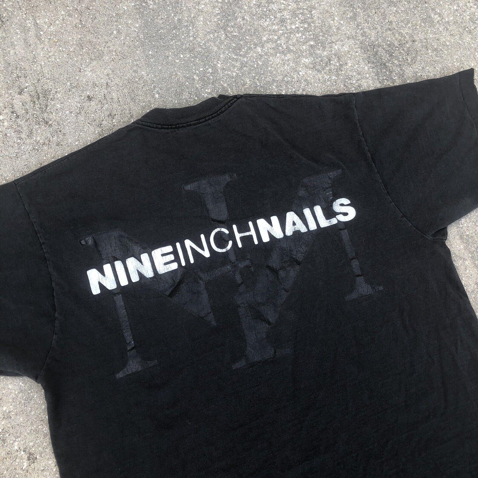 Vintage Nine Inch Nails T Shirt NIN Embroidered B… - image 1