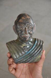 Vecchio-di-Legno-Fatto-a-Mano-Mahatma-Gandhi-Dipinto-a-Mano-Figurina-da-Parete