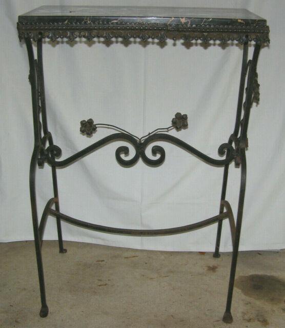Super Vintage 1930S Entrance Hall Wrought Iron Console Table W Black Gold Marble Top Spiritservingveterans Wood Chair Design Ideas Spiritservingveteransorg
