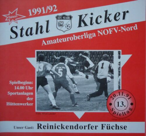 Programm 1991/92 Eisenhüttenstädter FC Stahl - Füchse Reinickendorf