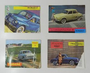 INTERESSANT-LOT-DE-4-DEPLIANTS-PUBLICITAIRES-RENAULT-ANNEES-1950