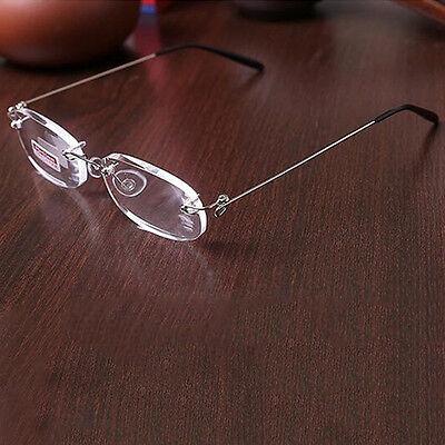 Rimless Reading Glasses 1.0- 4.0 Reader Eyeglasses Clear Lens Frameless Foldable