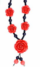 Handmade beaded red lacquer rose necklace
