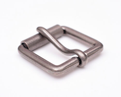 Mens Casual Silver Single Prong Roller Square Belt Buckle Fits 40mm Belt Strap