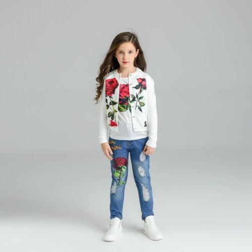 3pc Fashion Kids Baby Girls Rose Flower Coat+T-Shirt+Jeans Pants Clothes Outfits
