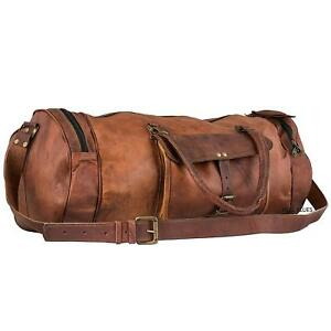 Image is loading All-Custom-Vintage-Men-Leather-Duffle-Luggage-Weekend- 7697367d153c6