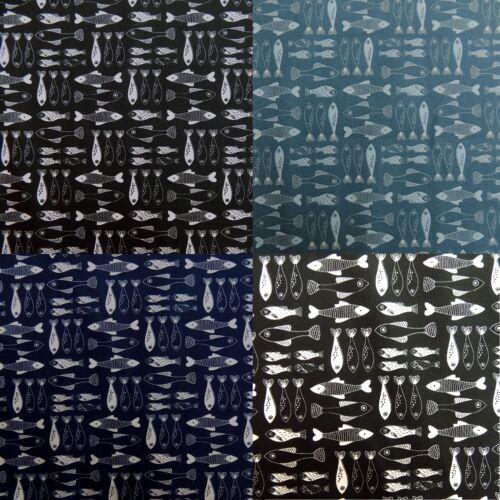 Seaside Fish Black Blue Grey Navy Cotton Poplin Dressmaking Fabric Fishing