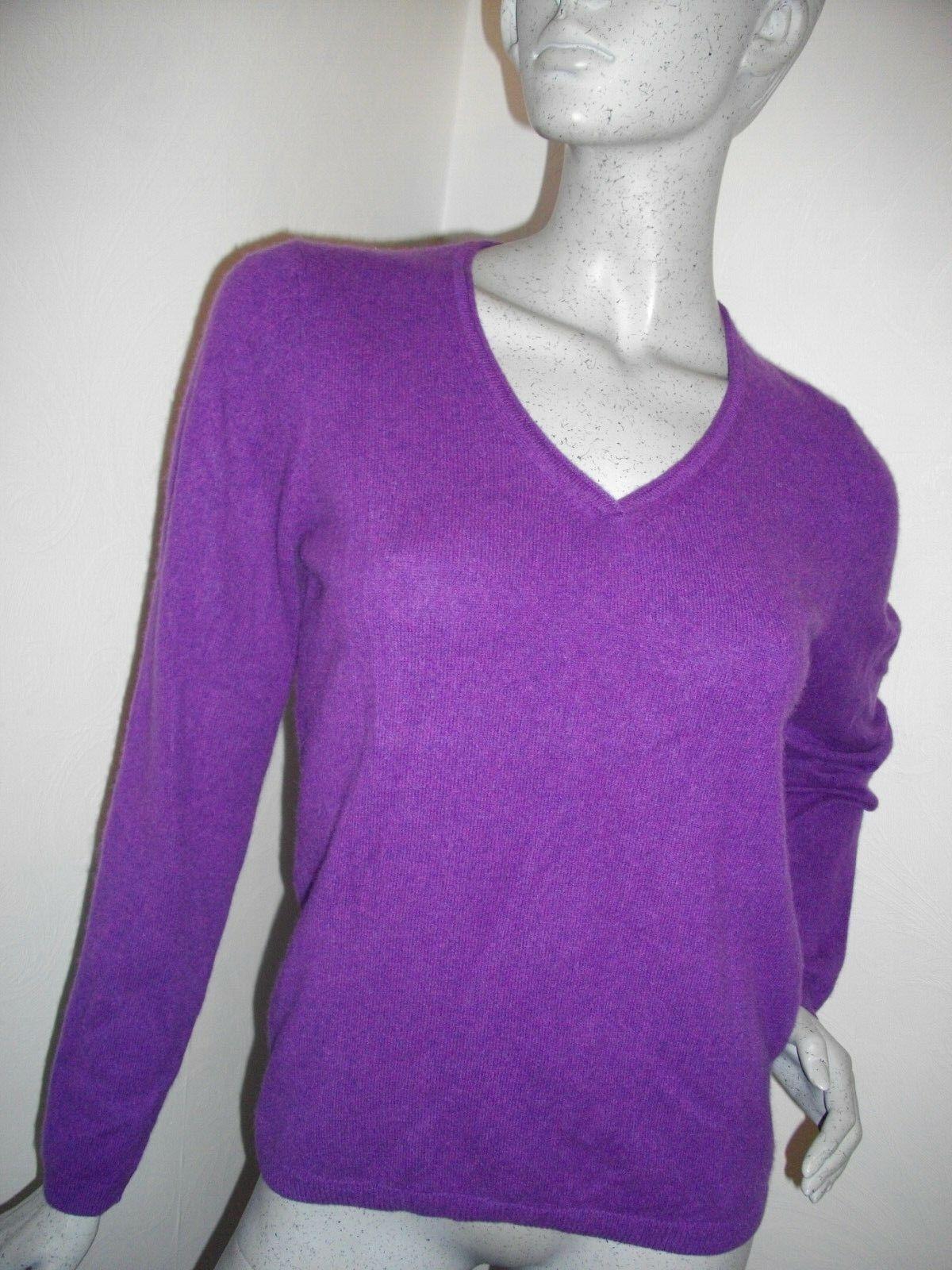 Nouveau  Pure cashmere by JOHN LEWIS  100% cachemire violet V Jumper Siz 14