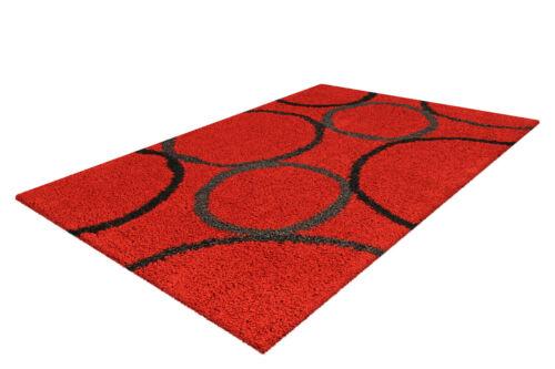 Teppich Wohnzimmer Moderner Hochflorteppich Rot Schwarz 160x230cm