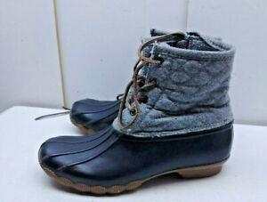 054cdfa5d18 Details about Steve Madden Gray Rubber Textile Ankle Lace Duck Boot Rain  Winter Women Shoes 7M
