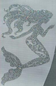 Mermaid Vinyl Car Decal Tumblers Mug Cup Stickers 6 H  Silver Diamond glitter.