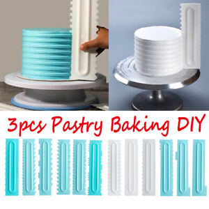 3PCS-Cake-Decorating-Comb-Icing-Smoother-Cake-Scraper-Pastry-Designs-Baking-Tool