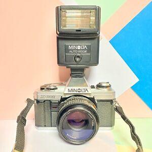 Minolta-X-300-SLR-Camera-amp-MD-50mm-F1-7-Obiettivo-veloce-Flash-lavorando-LOMO