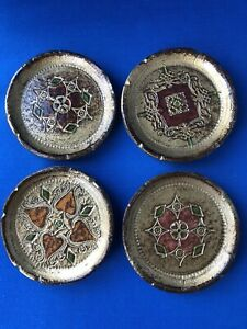 Vintage-Ornate-Wooden-Wood-Coasters-Gold-Red-Pink-Green-Four-Different-Designs