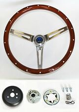 "Dodge Dart Charger Demon Wood Steering Wheel High Gloss Grip 15"" SS spokes"