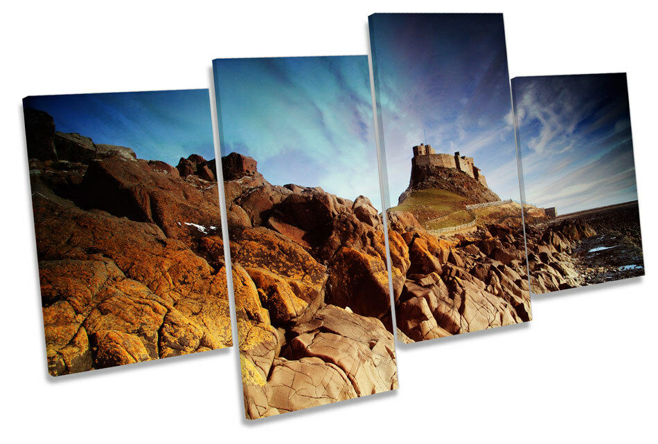 Holy Island Castle Northumberland MULTI CANVAS WALL ART Boxed Framed Framed Framed 22c1ac